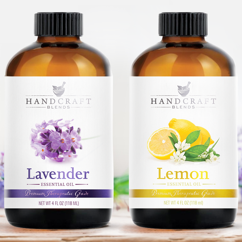 Hand crafted essential oils labels design