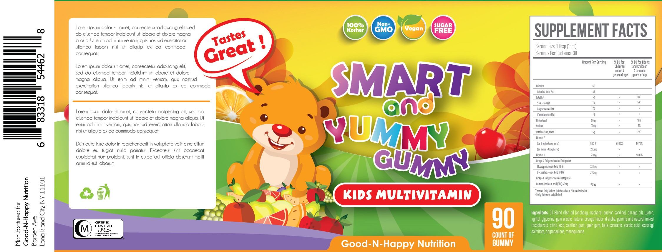 Design a fun and catchy label for a Gummy Vitamin Product Line