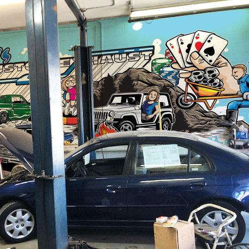 Mural for Car Custom Exhaust Garage