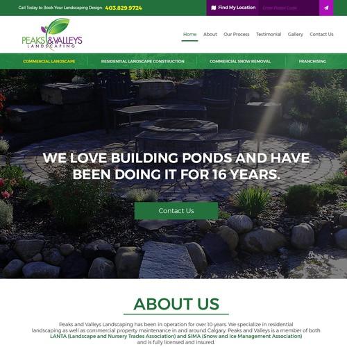 Peaks and Valleys Landscaping Ltd - Homepage Draft Design