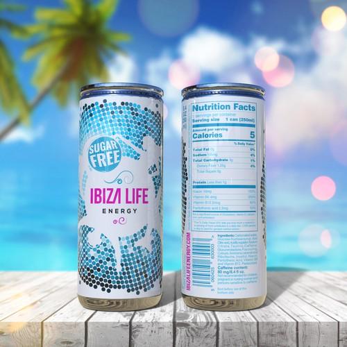 Design for Ibiza Life Sugar Free energy drink