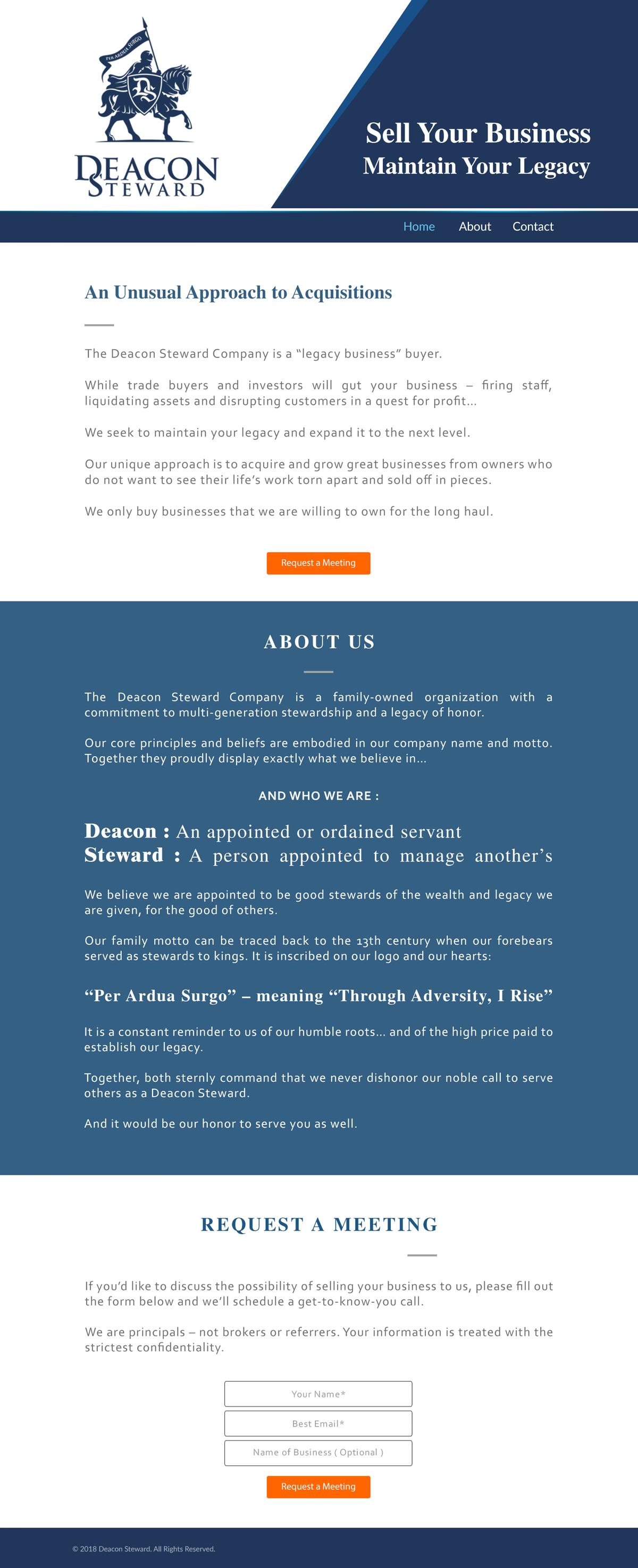 Deacon Steward Webpage Design