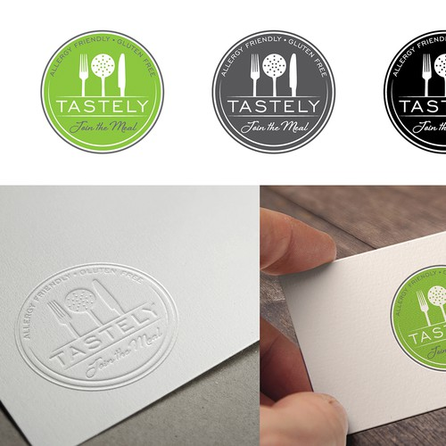 Create a logo for a new Allergy Friendly Meals company, Tastely