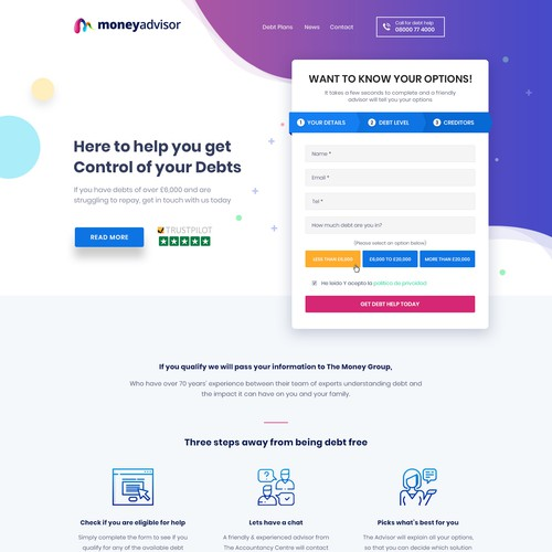 Web Design for MoneyAdvisor