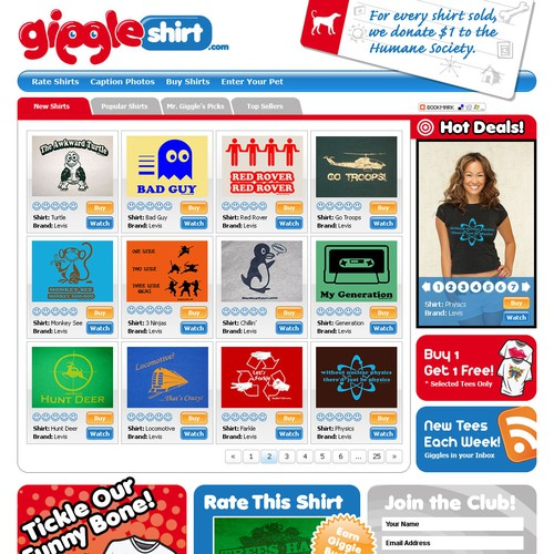 Giggleshirt.com web site (mockup provided)