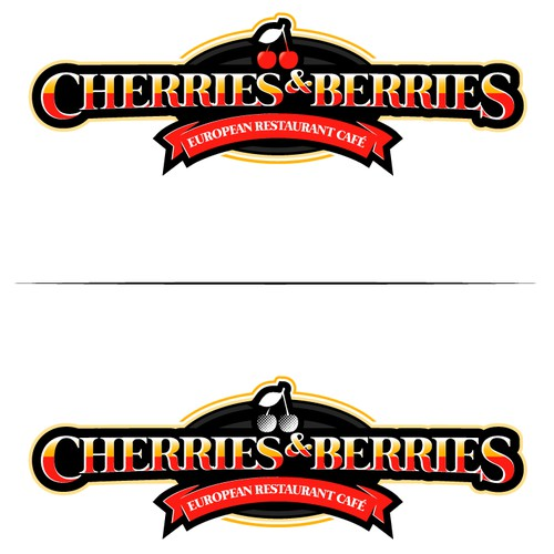 European Restaurant chain Logo- Customers should see the logo from 1kmand know it's a Cherries & Berries.