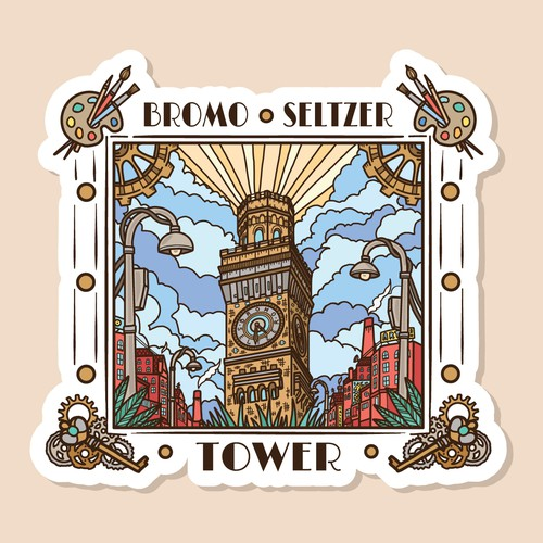 Bromo Seltzer Tower sticker design