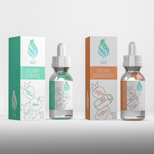 Modern, fun, elegant label and box design for e-liquid