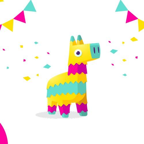 Llama colorful character