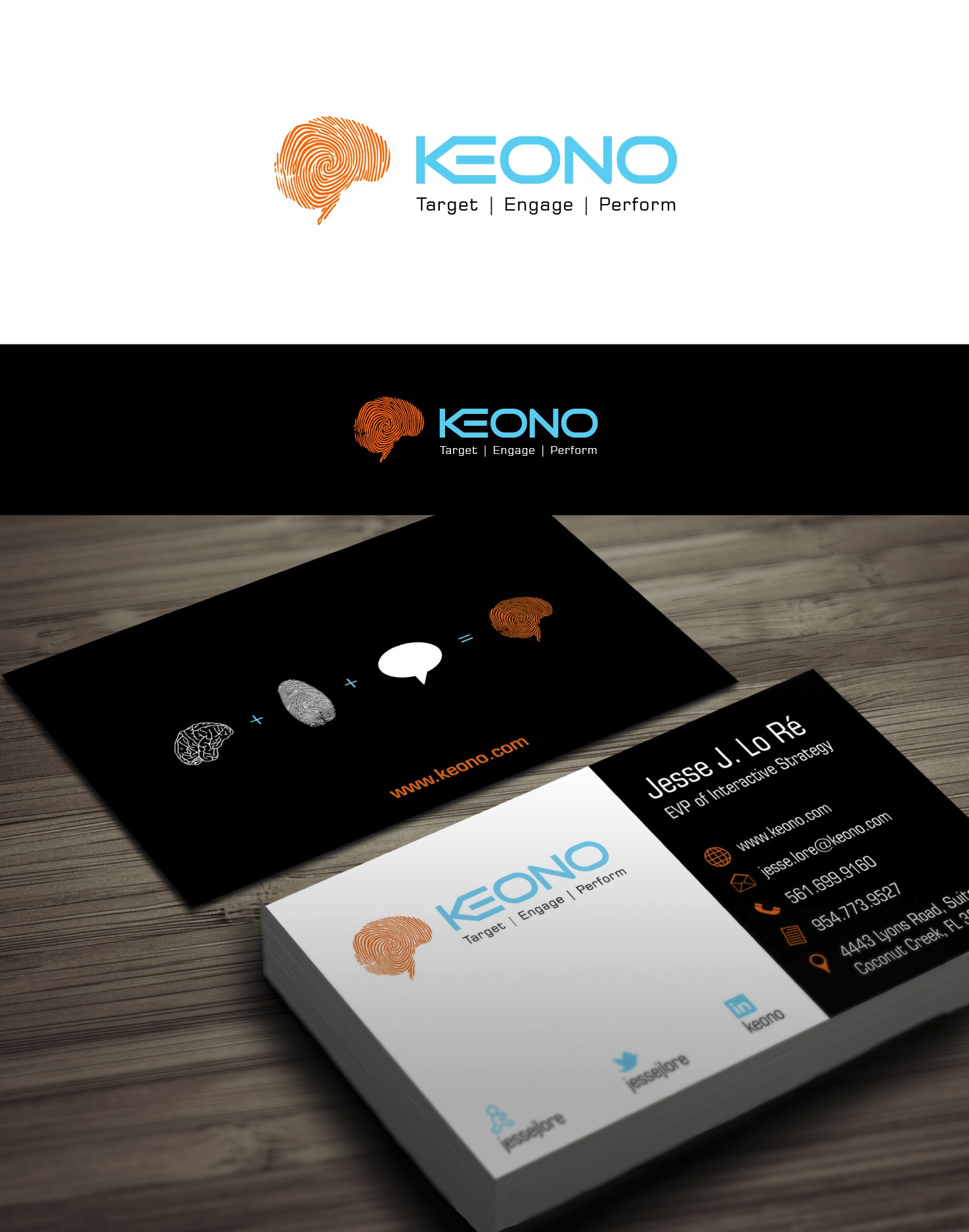 Create the next logo and business card for Keono