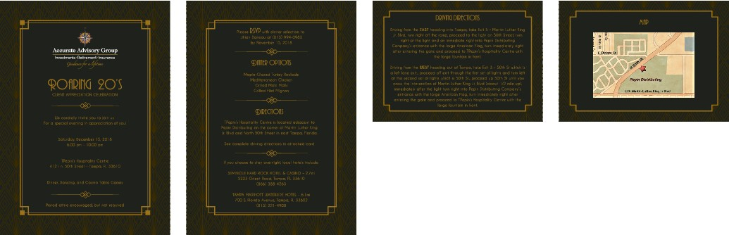 Design a Party Invitation for a Roaring 20's Themed Client Event