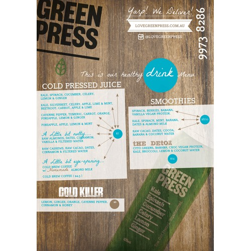 Trifold Menu - Juice & Salad Bar