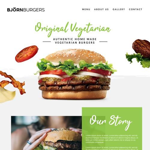 Landing Page design for Burger Shop