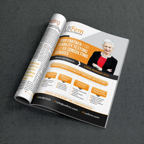 Create a clean look for a full page ad in a cluttered technical magazine