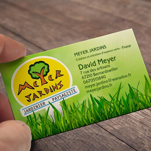 Business card for Meyer Jardins