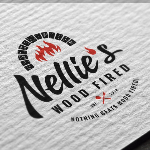 Timeless logo concept for Nellie's Wood Fired
