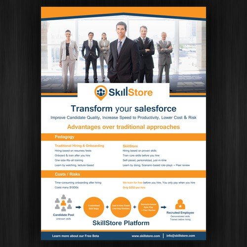 Design a fresh and fabulous flyer for SkillStore, a startup education/training company