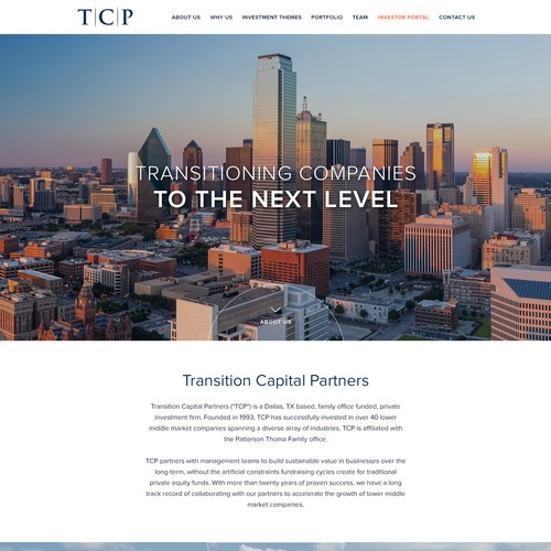 Imagery website for Texas Dallas Private Equity Firm