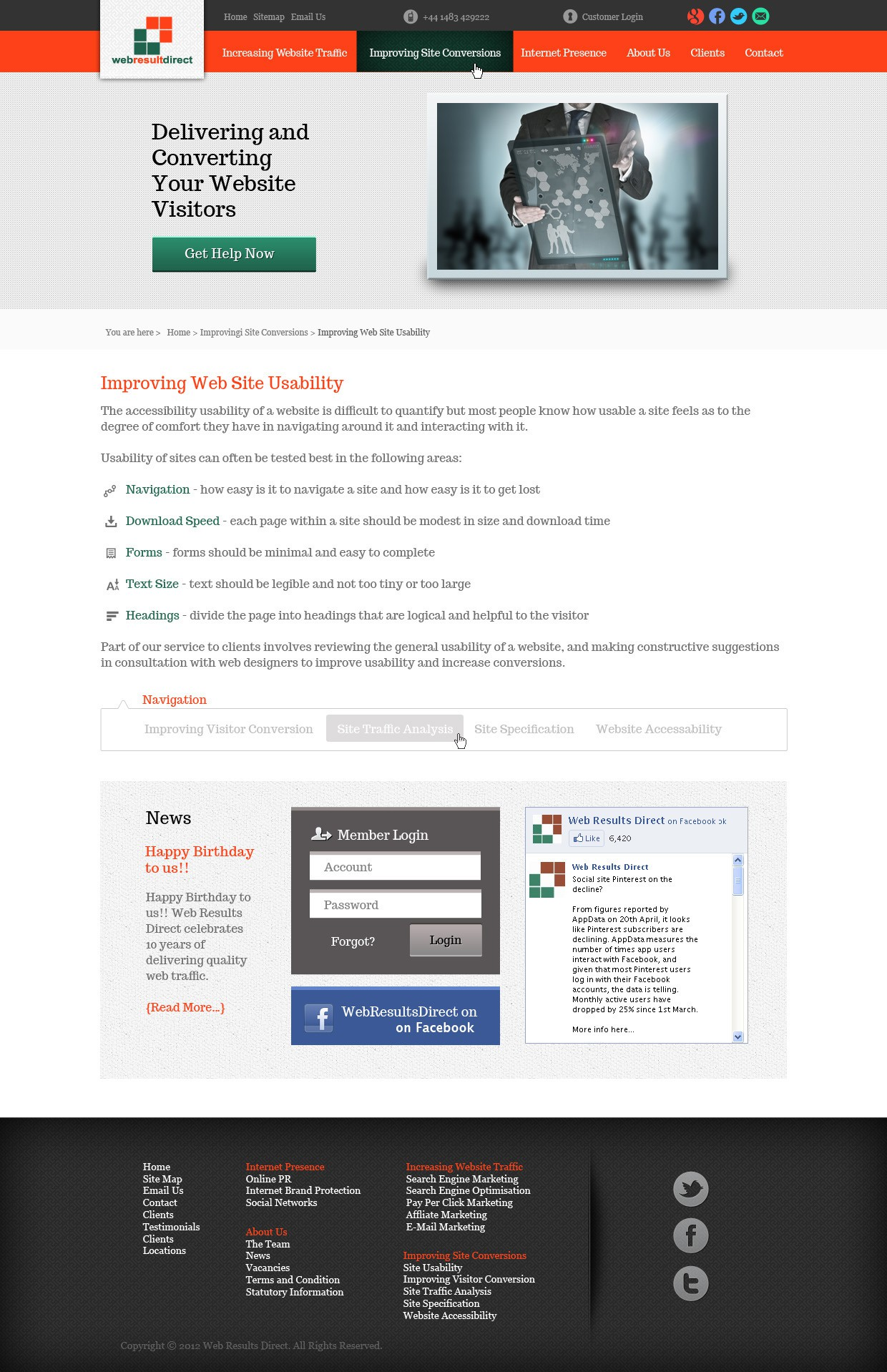 Create the next website design for Web Results Direct
