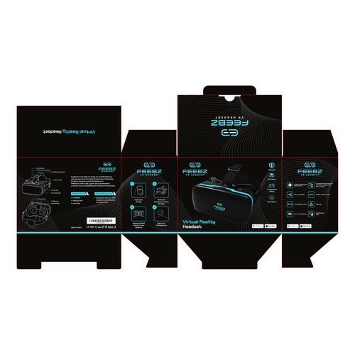 Box packaging for virtual reality headset