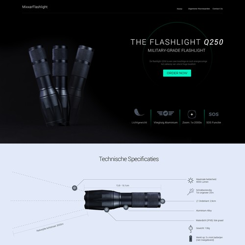 Landing page for Military Grade Flashlight