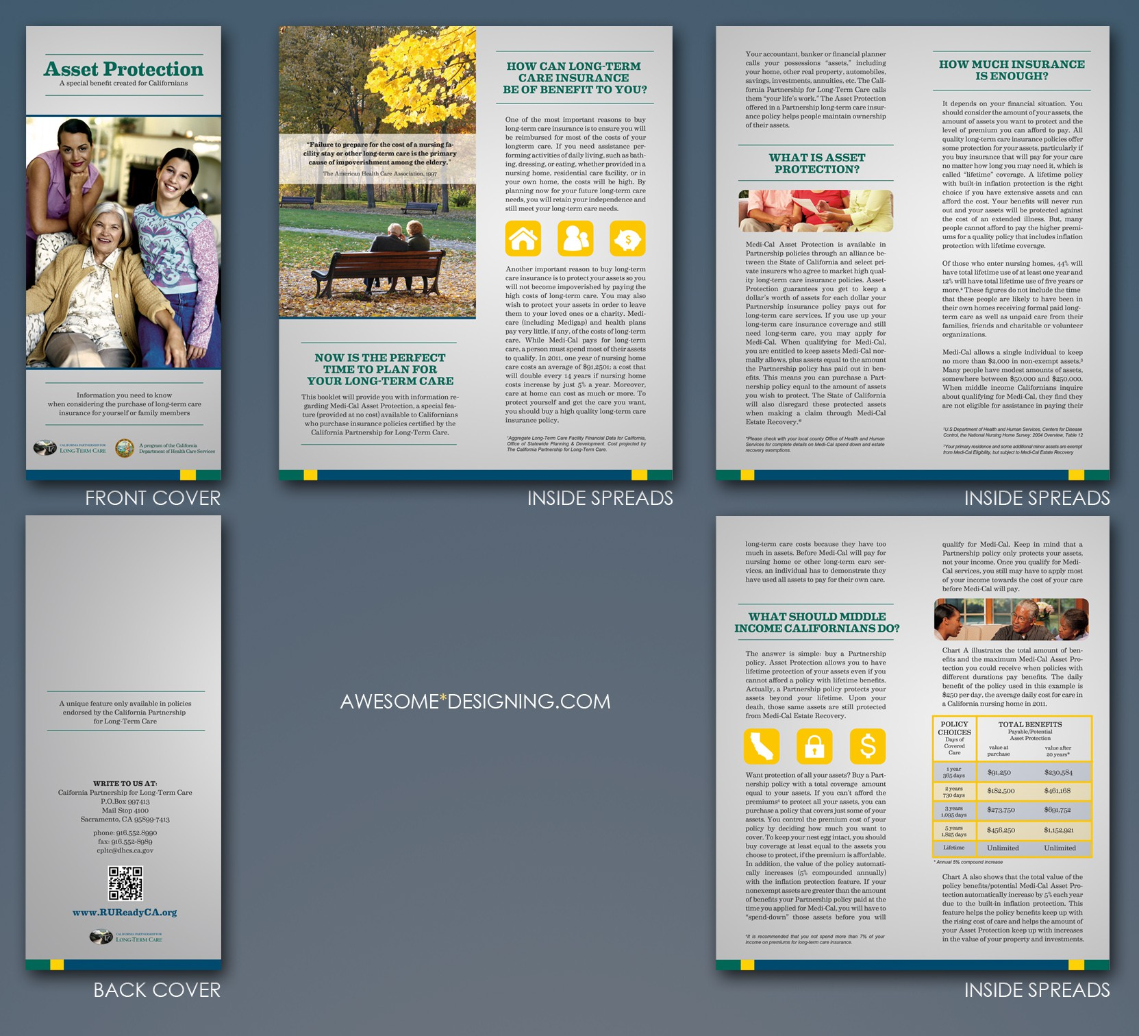 Create the next brochure design for The California Partnership for Long-Term Care