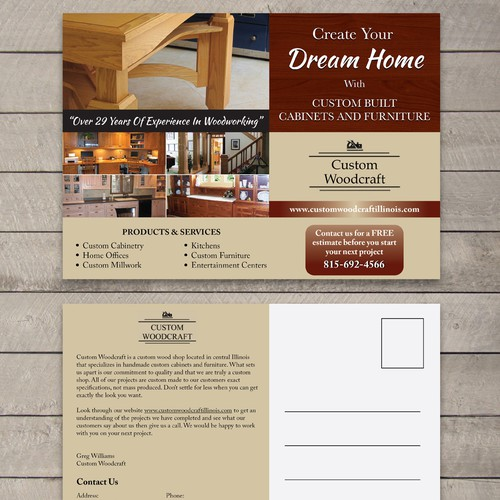 postcard or flyer for Custom Woodcraft