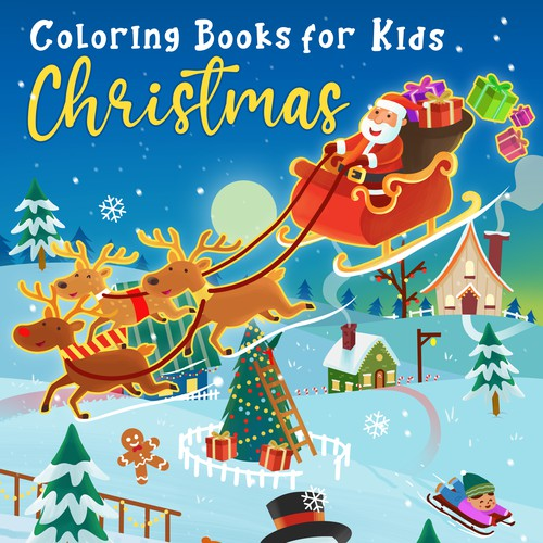 Coloring book cover for Christmas