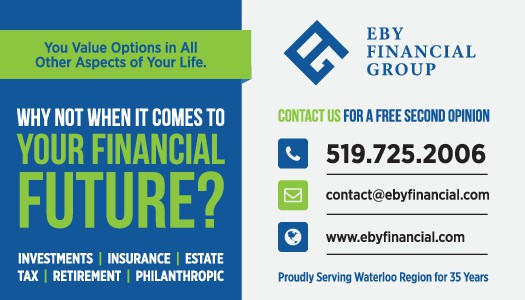 """Design a catchy 2""""H x 3.5""""W advertisement for Eby Financial Group"""