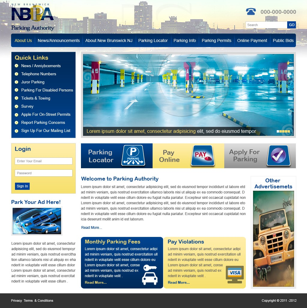 Web Design Layout for a Parking Garage Company