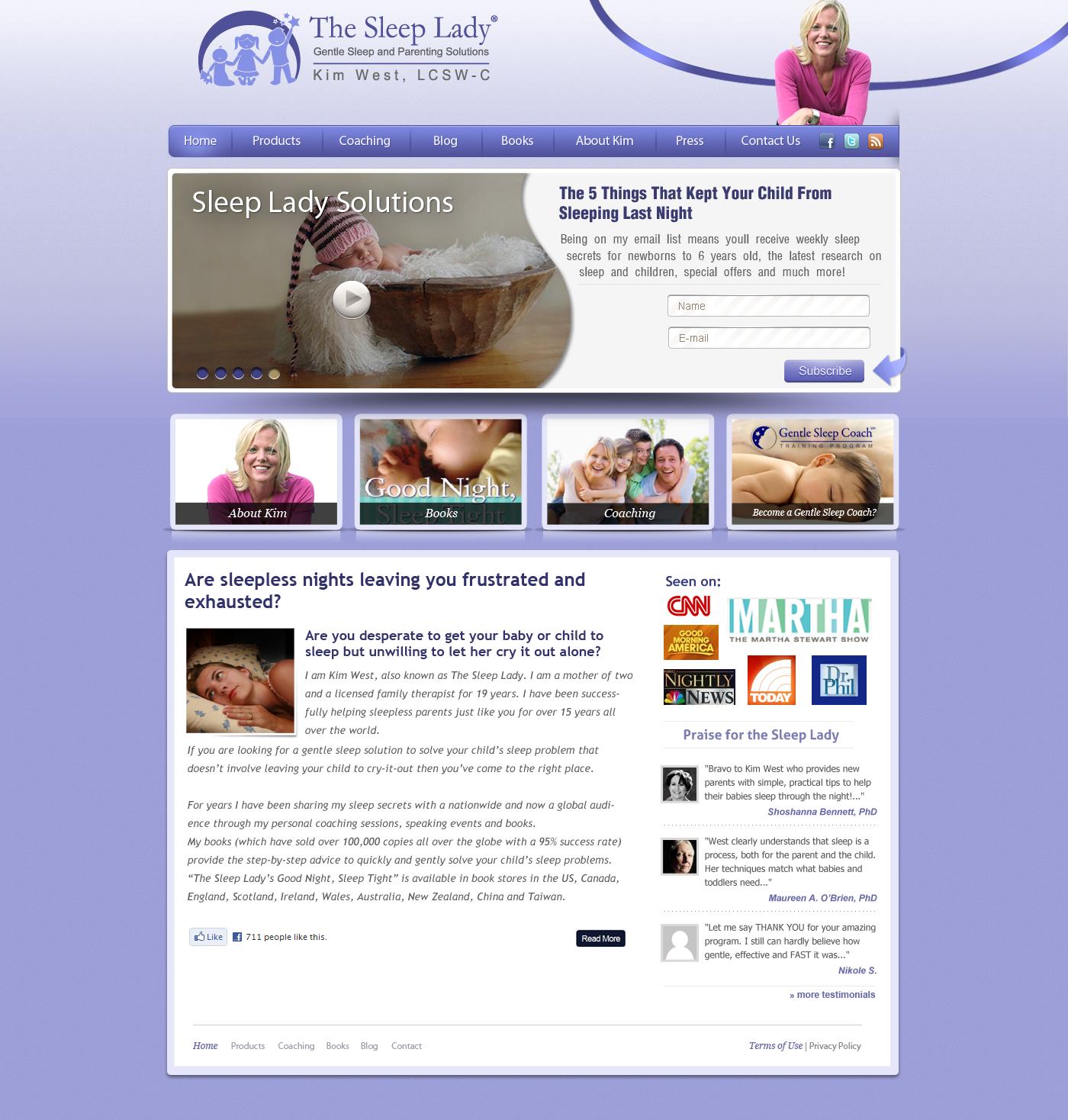 website design for The Sleep Lady