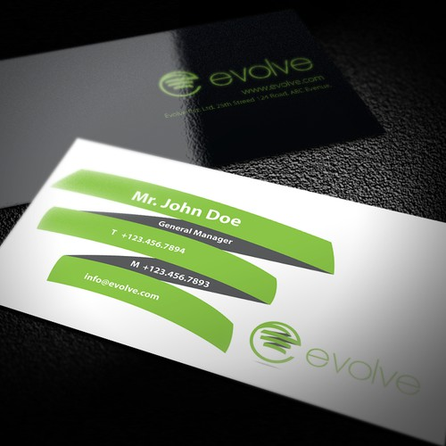 Create the next logo and business card for Evolve