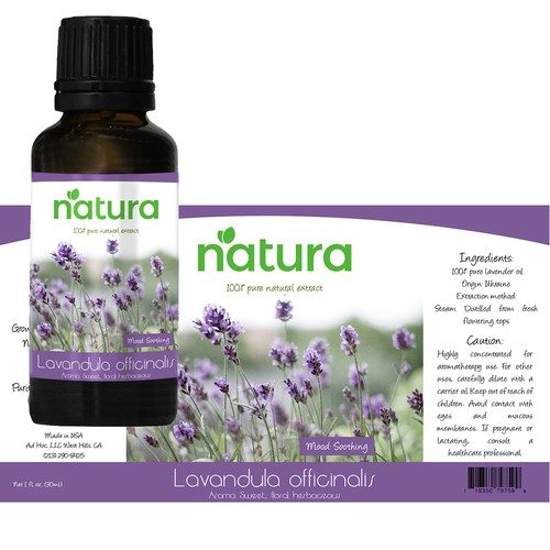 Product labels for essential oil