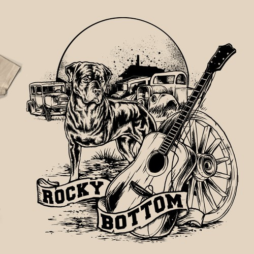 Design for folk american musician : Rocky Bottom