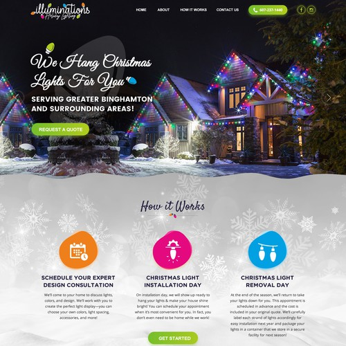 Out of the box website for Professional Christmas Light display company