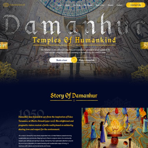 Homepage design for world famous Damanhur Temples of Humankind