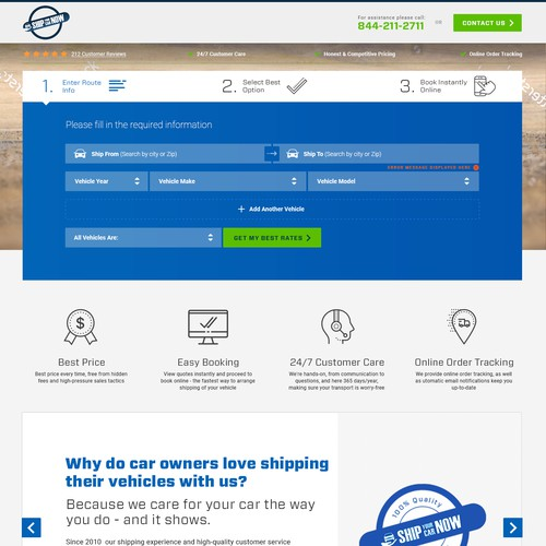Landing page for Ship Your Car Now