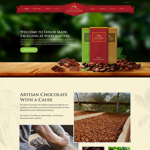 Web design for Chocolate Company