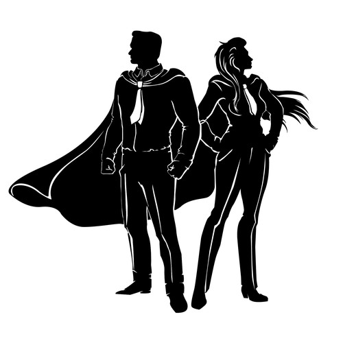 Silhouettes of business man and woman as super heroes