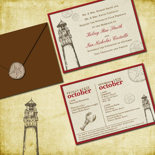 Fall Rustic New England Coast Wedding Invitation needs a new design