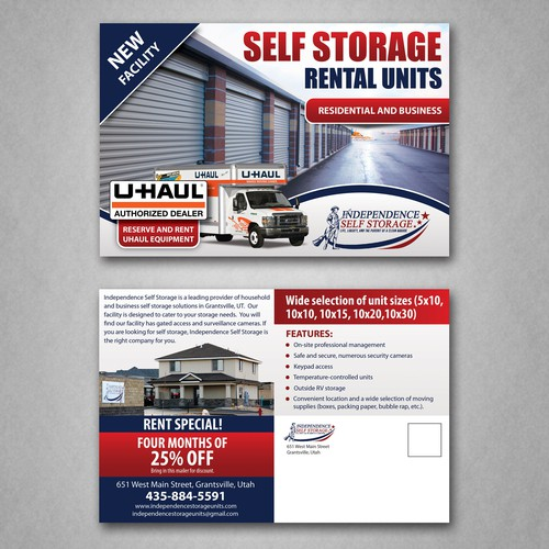 Postcard design for Storage facility