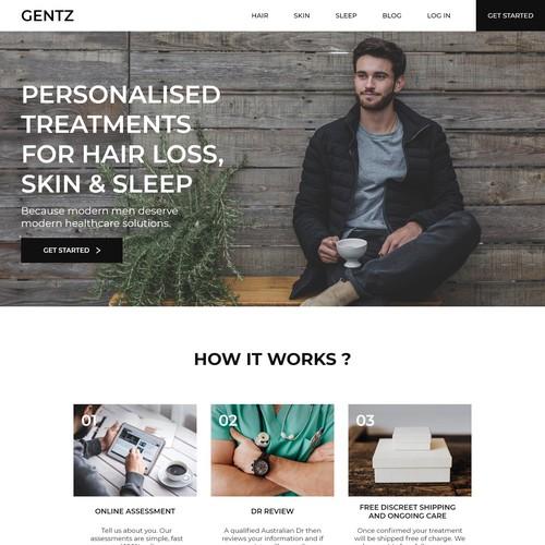 Landing page for Aussie men's health platform