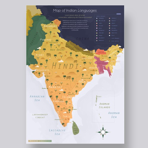 Indian languages map design