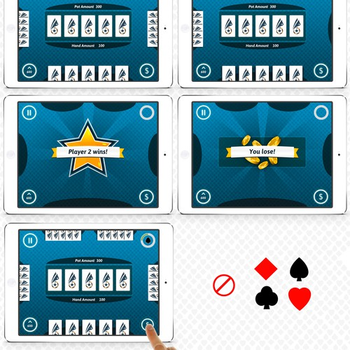 Create a Card game App table layout screen for all mobile devices and web gameplay