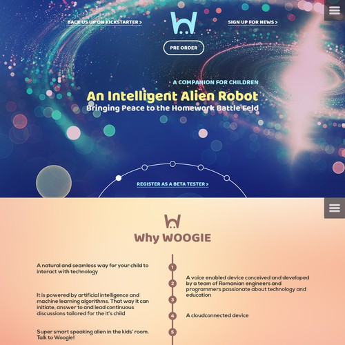 Build an alien landing page or website user interface for Woogie!