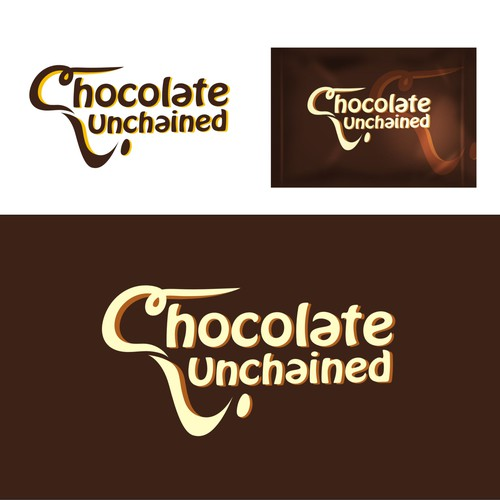 """Chocolate Unchained"" logo for chocolate candy bar"