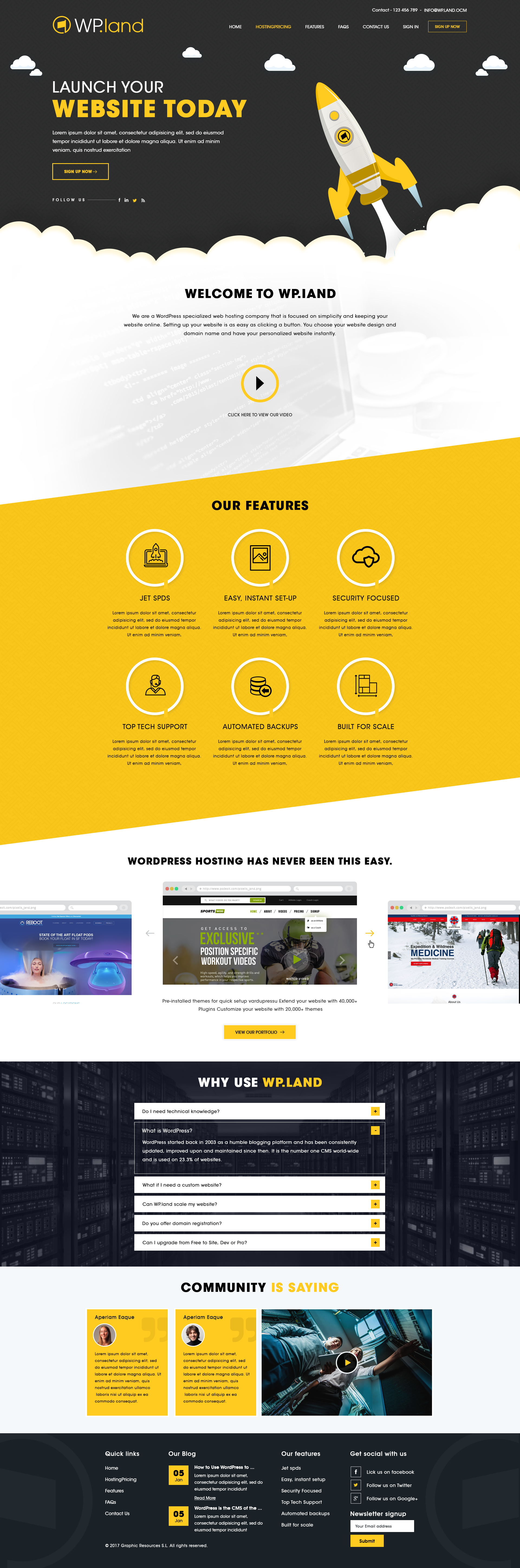 Redesign a Home Page for our WordPress Hosting Platform