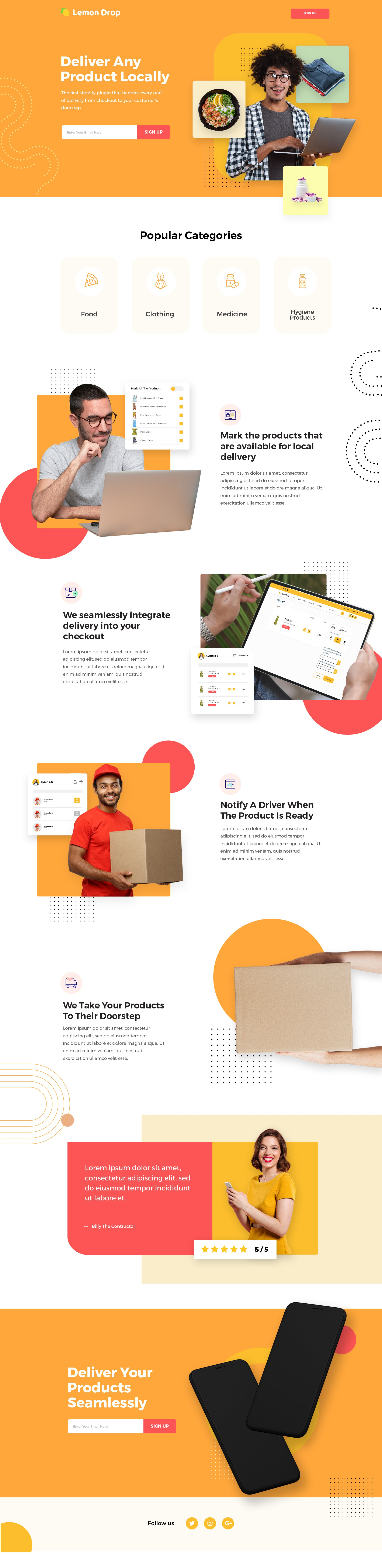Design a landing page for a Shopify plugin