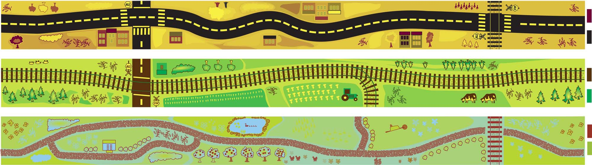 Fun (and simple) kids toy illustrations - track/road/path