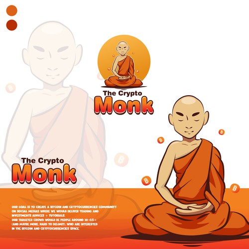 Logo/mascot: Buddhist monk in a cartoonish style